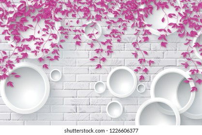 3D Pink leaves on bricks background, wallpaper for walls.