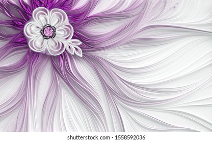 3d pink mural wallpaper decoration Abstract fractal fantastic flower purple and silver background