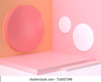 3d pink orange corner scene abstract minimal geometric background 3d rendering