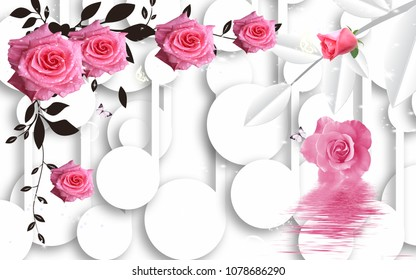3D Pink roses background,