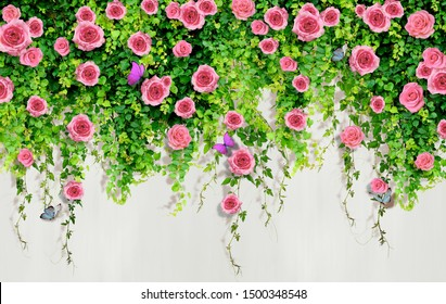 3D pink roses with butterflies on a living wall of greenery.
