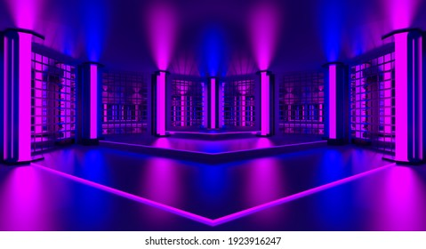 3d pink violet blue neon abstract background. Ultraviolet podium decoration empty room. Night club interior. Render.