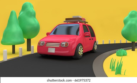 3d pink-red car eco-family car style with object on country road and many tree nature,travel holiday concept 3d rendering cartoon style