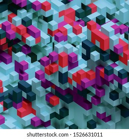 3D pixels abstract isometric background