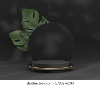 3D podium display, monstera deliciosa and black round frame copy space. Minimal dark background with pedestal, green plant leaves. Trendy natural product promotion banner. Simple tropical 3d render