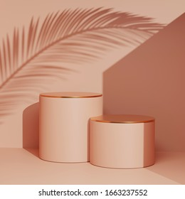 3D podium on beige pink pastel background and palm tree leaf. Summer Minimal holiday product promotion platform mockup with gold. Sunny 3D render  display and copy space. Banner trendy illustration