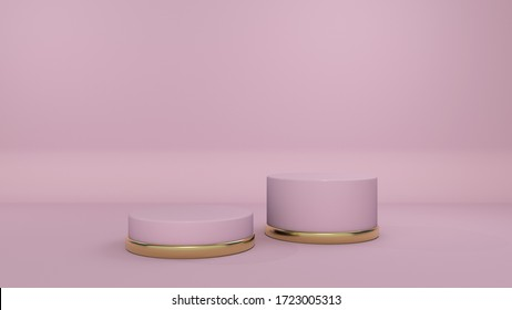 3D Podium on Pastel Background. Mock-up Scene. Abstract Geometry with Golden Elements. Minimal Geometric Shapes. Design Element for Stuff