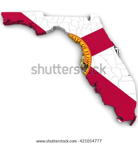 Political Map Of Florida.3 D Political Map Florida Counties State Stock Illustration