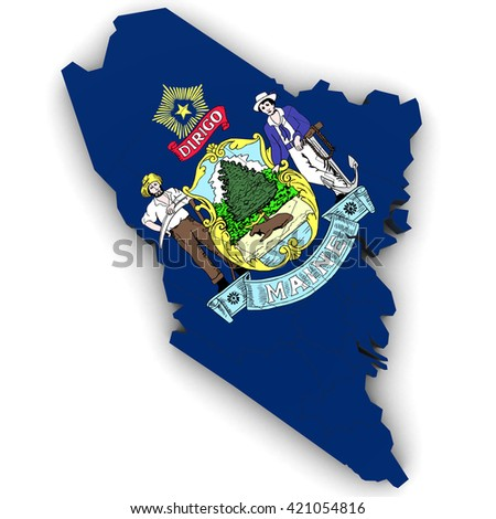 Royalty Free Stock Illustration of 3 D Political Map Maine Counties ...