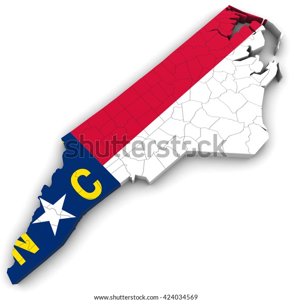 3d Political Map North Carolina Counties Stock Illustration ...
