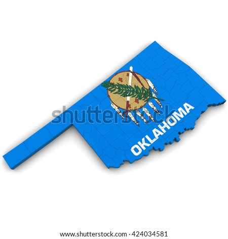 3 D Political Map Oklahoma Counties State Stock Illustration