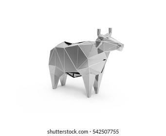 3D polygonal illustration of silver cow, low poly farm animals icon.
