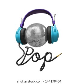 3d pop music concept isolated on white; headphones, disco ball and cord typographic design