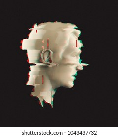 3d portrait of a man with glitch effect. Isolated on dark background