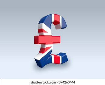 3D pound sign (GBP) isolated on white background. The icon is covered with a flag of United Kingdom.