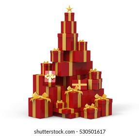 3d present boxes, Christmas tree concept