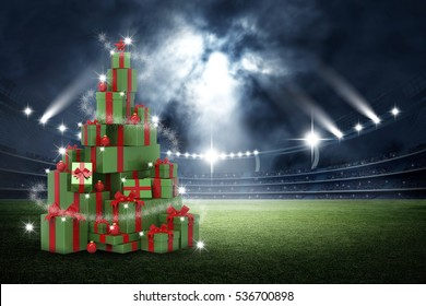 3d present boxes, christmas tree concept in the stadium