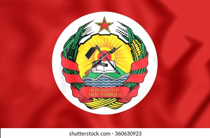 3D Presidential Standard of Mozambique. Close Up.