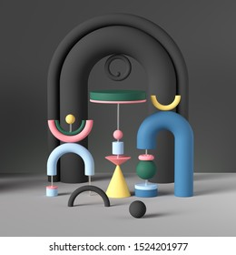 3d primitive geometric shapes, abstract background, colorful toys, postmodern installation, memphis inspired composition, creative playful asymmetric structure