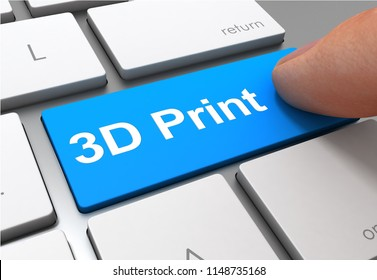 3d print button concept 3d illustration