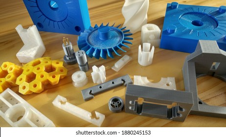 3d print, mechanical components in 3d printing, in thermoplastic plastic polymer, industrial CAD design.