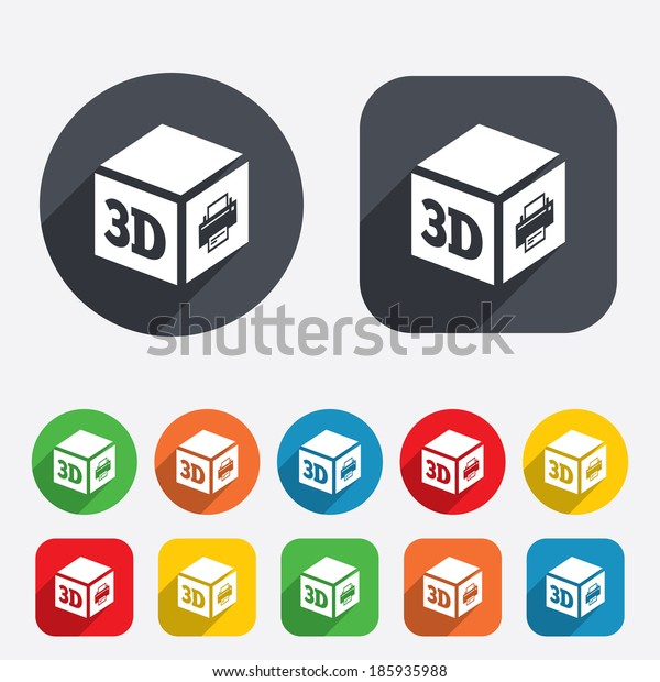 3D Print sign icon. 3d cube Printing symbol. Additive manufacturing. Circles and rounded squares 12 buttons.