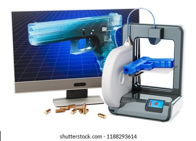 3d printed firearms, gun concept. 3D rendering isolated on white background