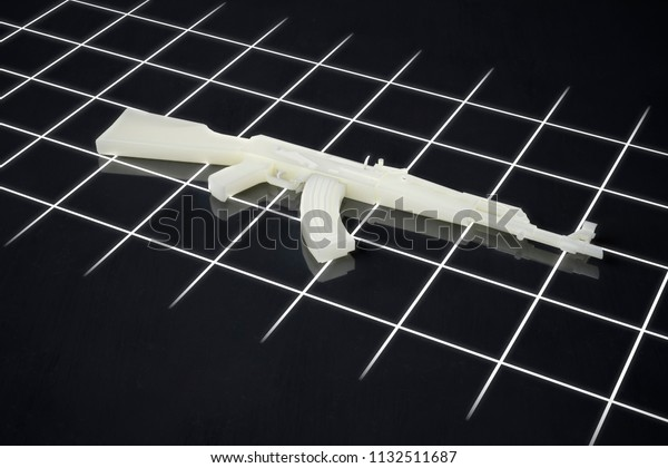 3d printed gun rifle manufactured using FLM and SLA processes 3d illustration
