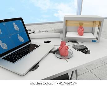 3d printed heart. 3d rendering.