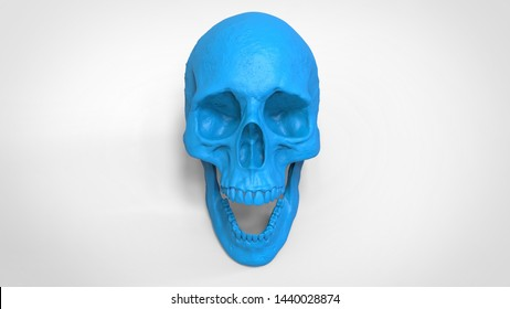 3d printed skull isolated , 3d render