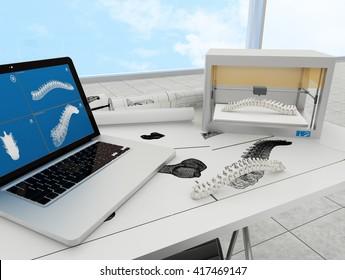 3d printed spine. 3d rendering.