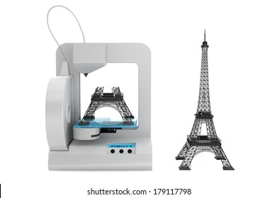 3d printer build Eiffel Tower Model on a white background