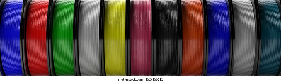 3D printer filaments background. Reels of colorful plastic wire for 3D printing background, banner. Thermoplastic coil from polylactic (pla) acid. 3d illustration