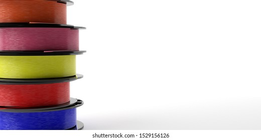 3D printer filaments. Reels of colorful plastic wire for 3D printing against white background, copy space. Thermoplastic coil from polylactic (pla) acid. 3d illustration