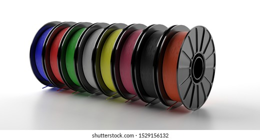 3D printer filaments. Reels of colorful plastic wire for 3D printing isolated on white background. Thermoplastic coil from polylactic (pla) acid. 3d illustration