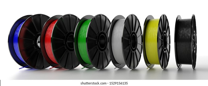 3D printer filaments. Reels of colorful plastic wire for 3D printing isolated on white background, banner. Thermoplastic coil from polylactic (pla) acid. 3d illustration