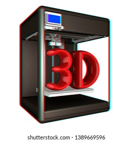 3d printer. 3d illustration. Anaglyph. View with red/cyan glasses to see in 3D.