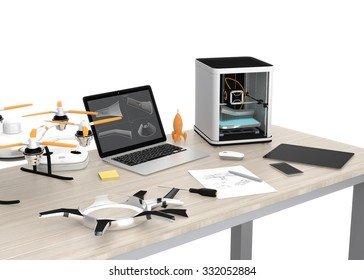 3D printer, laptop, tablet PC and drone on a table, concept for new technology for DIY.