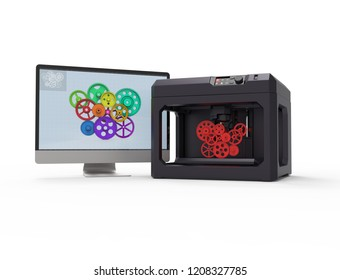 3d printer machine concept, isolated on white,3d rendering,conceptual image.