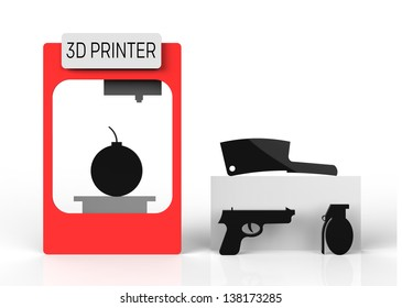 3D printer misused to create harmful products such as a bomb and pistol.