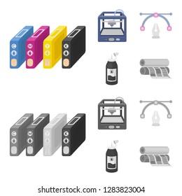 3D printer, newspaper printer, ink, pen. Typography set collection icons in cartoon,monochrome style bitmap symbol stock illustration web.