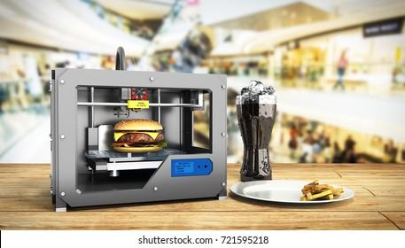 3D printer print burger 3d render Success food mace concept