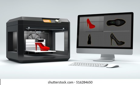 3D printer print women's shoes on a white background 3d rendering