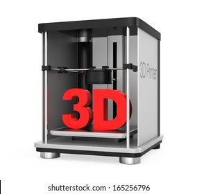 3D printer with solid text. clipping path available