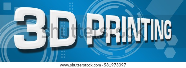 3D Printing Abstract Blue Background Horizontal