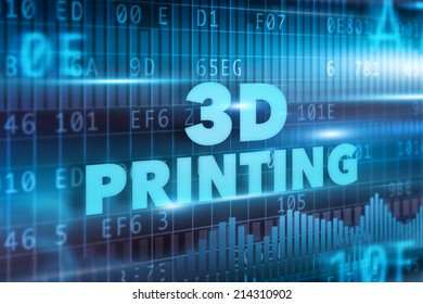 3D printing concept blue text blue background