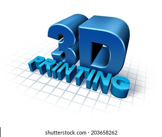 3D printing concept with three dimensional text as a symbol of new print technology duplicating objects for product or prototype development,using industrial robots and future manufacturing process.
