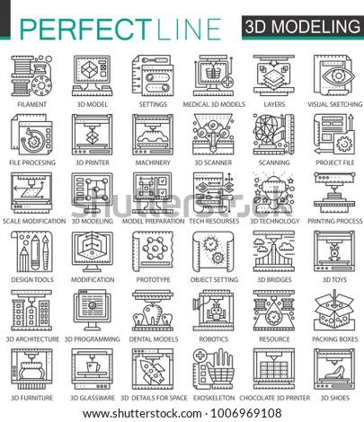 3 D Printing 3 D Modeling Scanning Technology Stock Illustration
