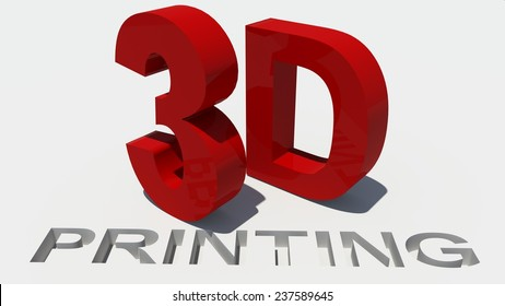 3d printing - word text -  red and white background -