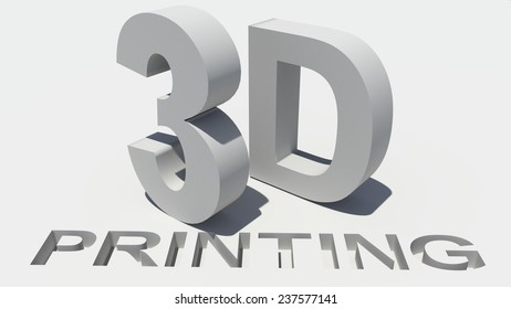 3d printing - word text - white background